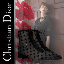 Christian Dior Dots Lace-up Suede Blended Fabrics Elegant Style
