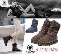 Round Toe Rubber Sole Casual Style Fur Flat Boots