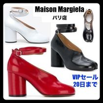 Maison Martin Margiela Monogram Unisex Plain Leather Block Heels Handmade