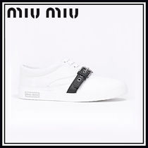 MiuMiu Rubber Sole Casual Style Street Style Plain Low-Top Sneakers