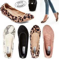 Steve Madden Leopard Patterns Round Toe Faux Fur Studded Plain Flats