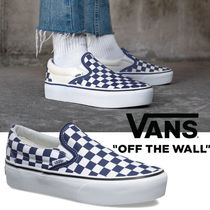 2f00df8999 VANS SLIP ON Gingham Platform Round Toe Casual Style Street Style