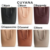 CUYANA Casual Style A4 Plain Leather Totes