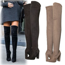 Steve Madden Plain Elegant Style Chunky Heels Over-the-Knee Boots