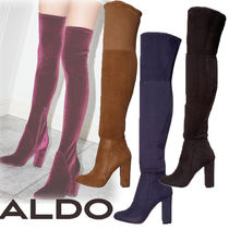 ALDO Plain Elegant Style Chunky Heels Over-the-Knee Boots