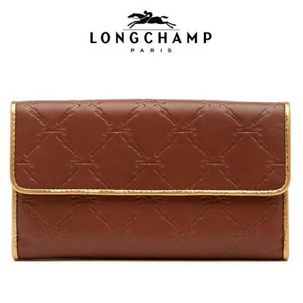Bi-color Plain Leather Long Wallets