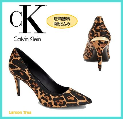 f8a775021fc ... Calvin Klein Pointed Toe Leopard Patterns Leather Pin Heels Elegant  Style ...
