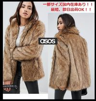 ASOS Stand Collar Coats Short Plain Cashmere & Fur Coats