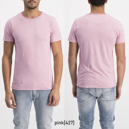 Crew Neck Pullovers Plain Cotton Short Sleeves
