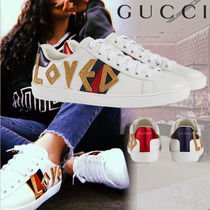 GUCCI Ace Rubber Sole Casual Style Street Style Leather