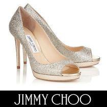 Jimmy Choo Open Toe Platform Plain Leather Elegant Style