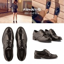 minelli Studded Plain Leather Loafer & Moccasin Shoes