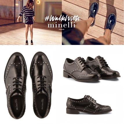 Studded Plain Leather Loafer Pumps & Mules
