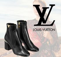 Louis Vuitton Plain Toe Plain Leather Block Heels Ankle & Booties Boots