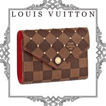 Louis Vuitton DAMIER Other Check Patterns Canvas Studded Folding Wallets