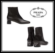 PRADA Square Toe Casual Style Plain Leather Chunky Heels