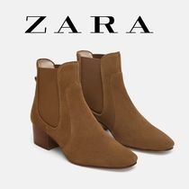 ZARA Round Toe Casual Style Suede Plain Block Heels Chelsea Boots