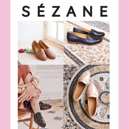 Round Toe Leather Elegant Style Loafer Pumps & Mules