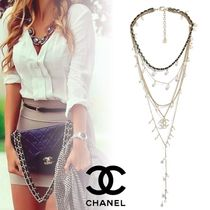 CHANEL Costume Jewelry Blended Fabrics Leather Brass Elegant Style