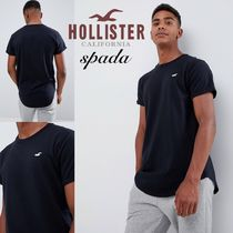 Hollister Co. Henry Neck Street Style Plain Cotton Short Sleeves