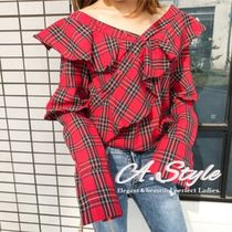 Tartan Other Check Patterns Casual Style Street Style V-Neck