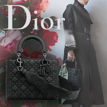 Christian Dior LADY DIOR Other Check Patterns Calfskin Studded 3WAY Elegant Style