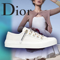 Christian Dior JADIOR Plain Toe Lace-up Casual Style Blended Fabrics Studded Plain