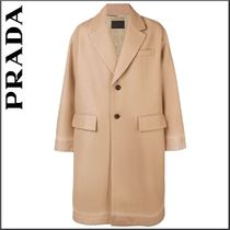 PRADA Wool Plain Long Oversized Chester Coats