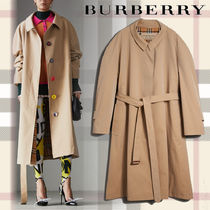 Burberry Other Check Patterns Casual Style Plain Long Oversized Coats
