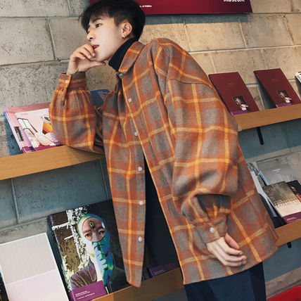 Shirts Other Check Patterns Street Style V-Neck Long Sleeves Shirts