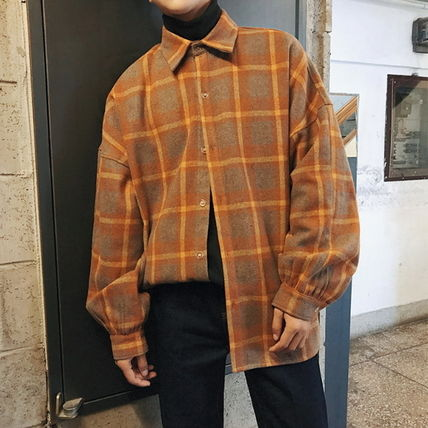 Shirts Other Check Patterns Street Style V-Neck Long Sleeves Shirts 2