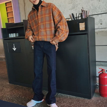 Shirts Other Check Patterns Street Style V-Neck Long Sleeves Shirts 4
