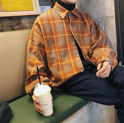 Shirts Other Check Patterns Street Style V-Neck Long Sleeves Shirts 6