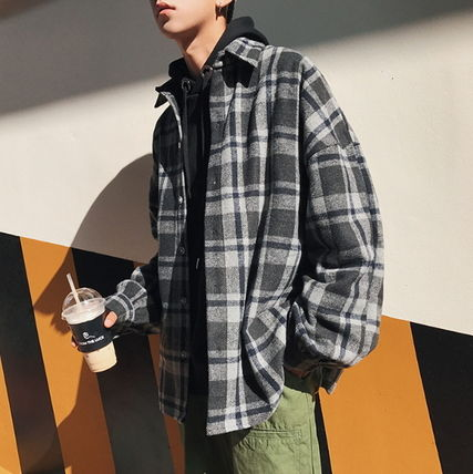 Shirts Other Check Patterns Street Style V-Neck Long Sleeves Shirts 11