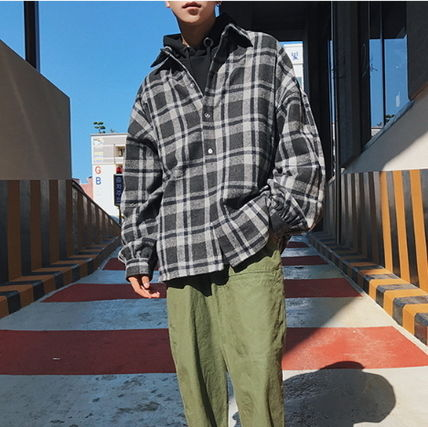 Shirts Other Check Patterns Street Style V-Neck Long Sleeves Shirts 12