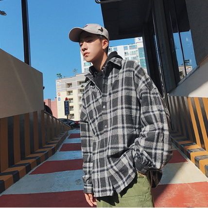Shirts Other Check Patterns Street Style V-Neck Long Sleeves Shirts 13