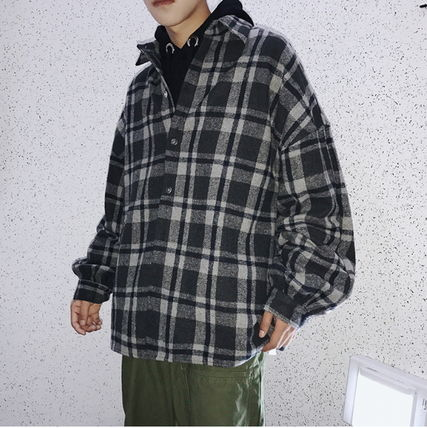 Shirts Other Check Patterns Street Style V-Neck Long Sleeves Shirts 17