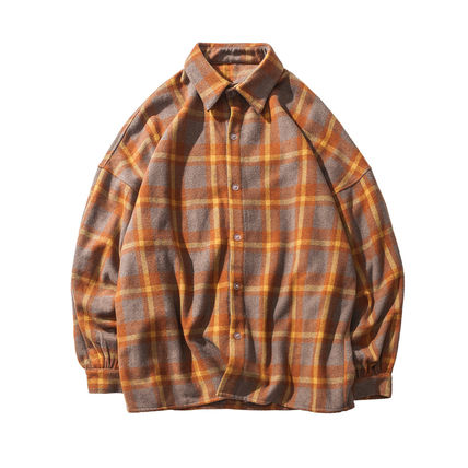 Shirts Other Check Patterns Street Style V-Neck Long Sleeves Shirts 19
