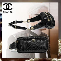 CHANEL Lambskin Street Style Chain Python Hip Packs