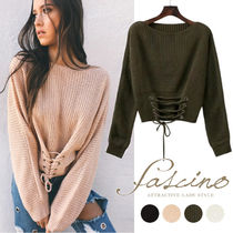 Cable Knit Short Lace-up Casual Style Dolman Sleeves
