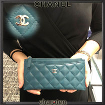 CHANEL TIMELESS CLASSICS Unisex Calfskin Plain Pouches & Cosmetic Bags