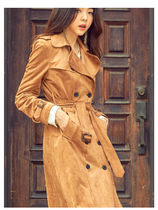 Suede Plain Long Office Style Dark Brown Trench Coats