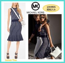 Michael Kors Crew Neck Stripes Sleeveless Medium Elegant Style Dresses