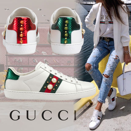 ... GUCCI Low-Top Rubber Sole Casual Style Studded Street Style Plain  Leather ...
