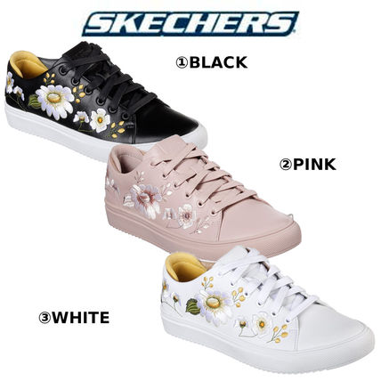 Flower Patterns Rubber Sole Casual Style Leather