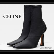 CELINE Blended Fabrics Plain Leather Elegant Style