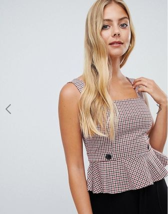 Other Check Patterns Casual Style Peplum Medium
