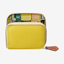 HERMES Silk In Plain Leather Coin Purses