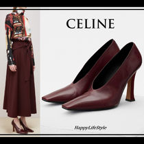 CELINE Square Toe Blended Fabrics Plain Leather Elegant Style Bold