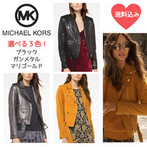 Michael Kors Short Casual Style Leather Biker Jackets